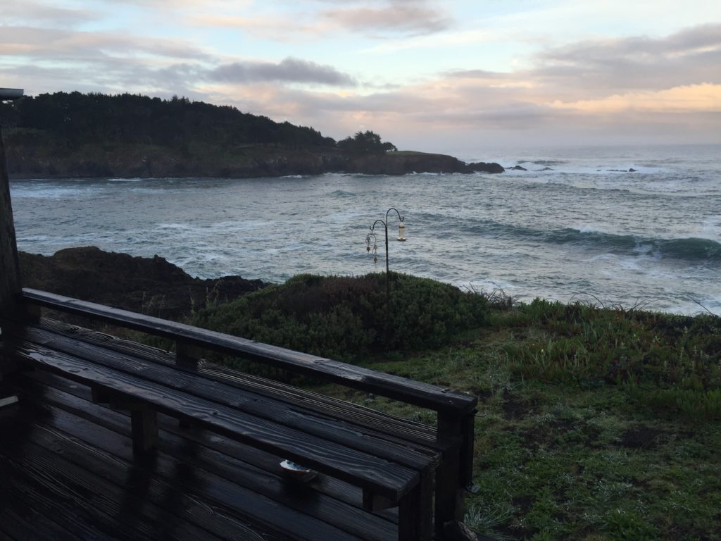 Here is a look at the ocean from the back deck of Bettilou Inn. We loved how it was tucked into a rocky cove. So much to watch that way. Great to fall asleep to the waves crashing around us.